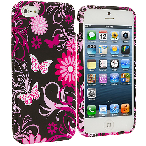 Apple iPhone 5/5S/SE Pink Butterfly Flower TPU Design Soft Case Cover