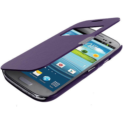 Samsung Galaxy S3 Purple Texture (Open) Magnetic Wallet Case Cover Pouch