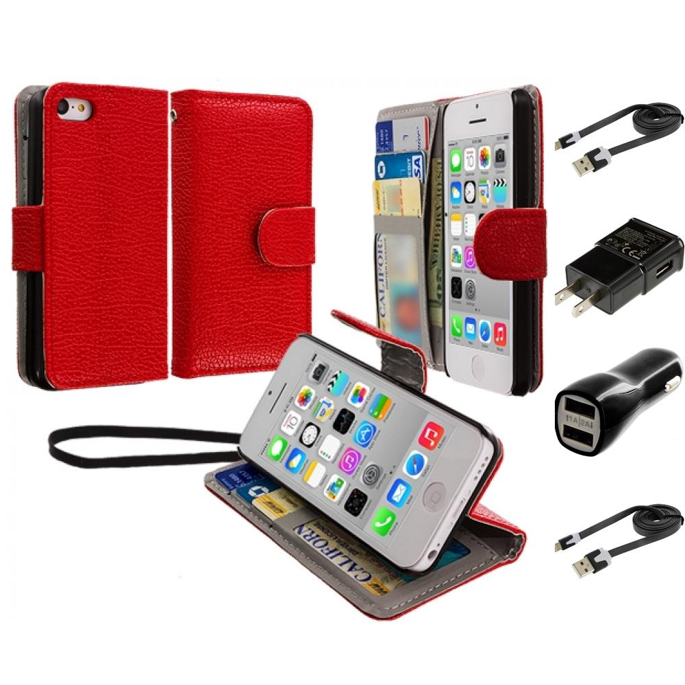 For iPhone 5C Leather Wallet Pouch Case Cover Credit Card
