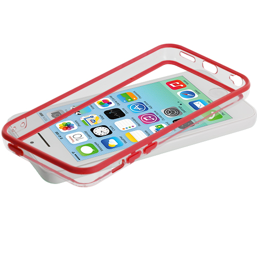 Apple iPhone 5C 2 in 1 Combo Bundle Pack - Yellow / Red TPU Bumper with Metal Buttons : Color Red / Clear