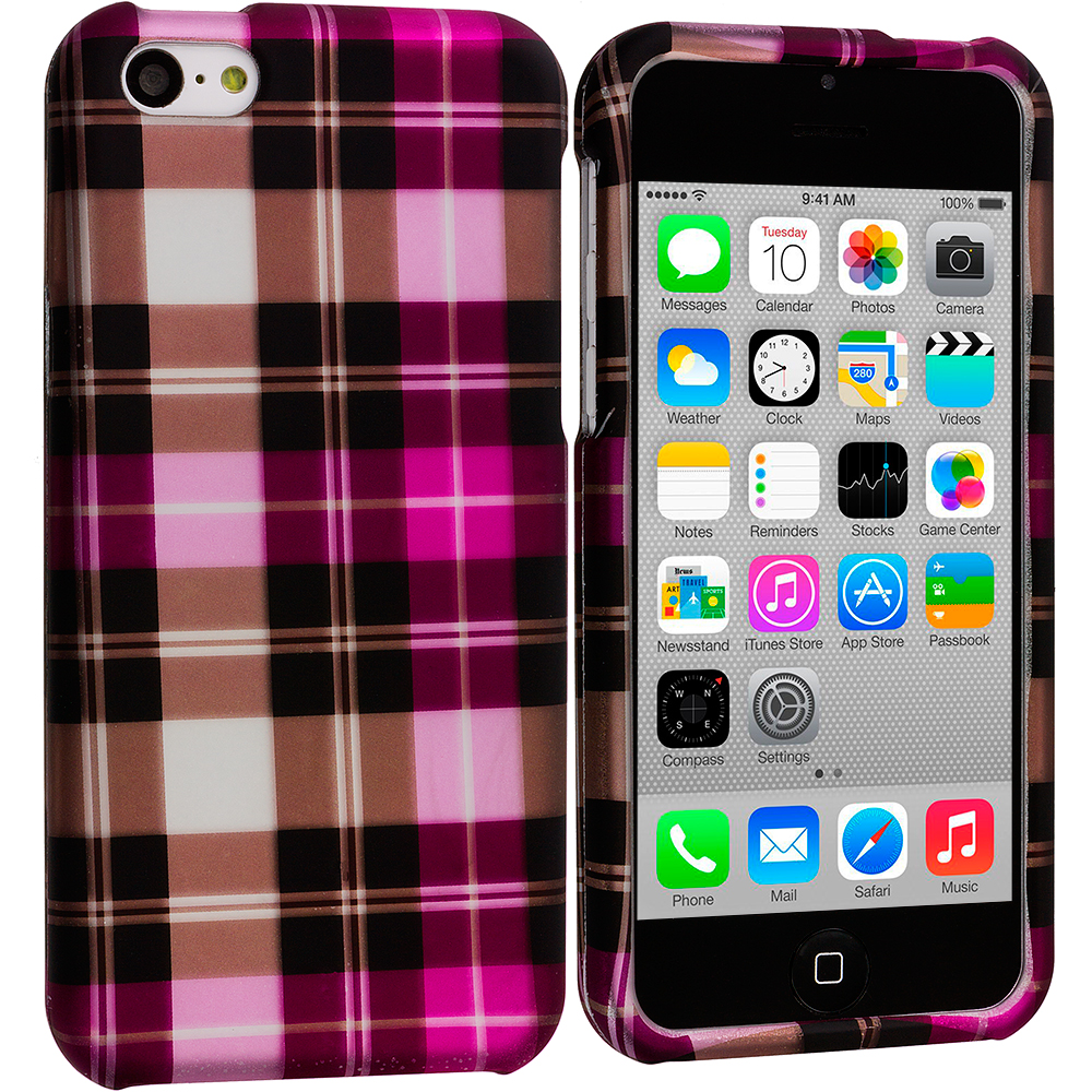 Apple iPhone 5C 2 in 1 Combo Bundle Pack - Blue Pink Checker Hard Rubberized Design Case Cover : Color Hot Pink Checker