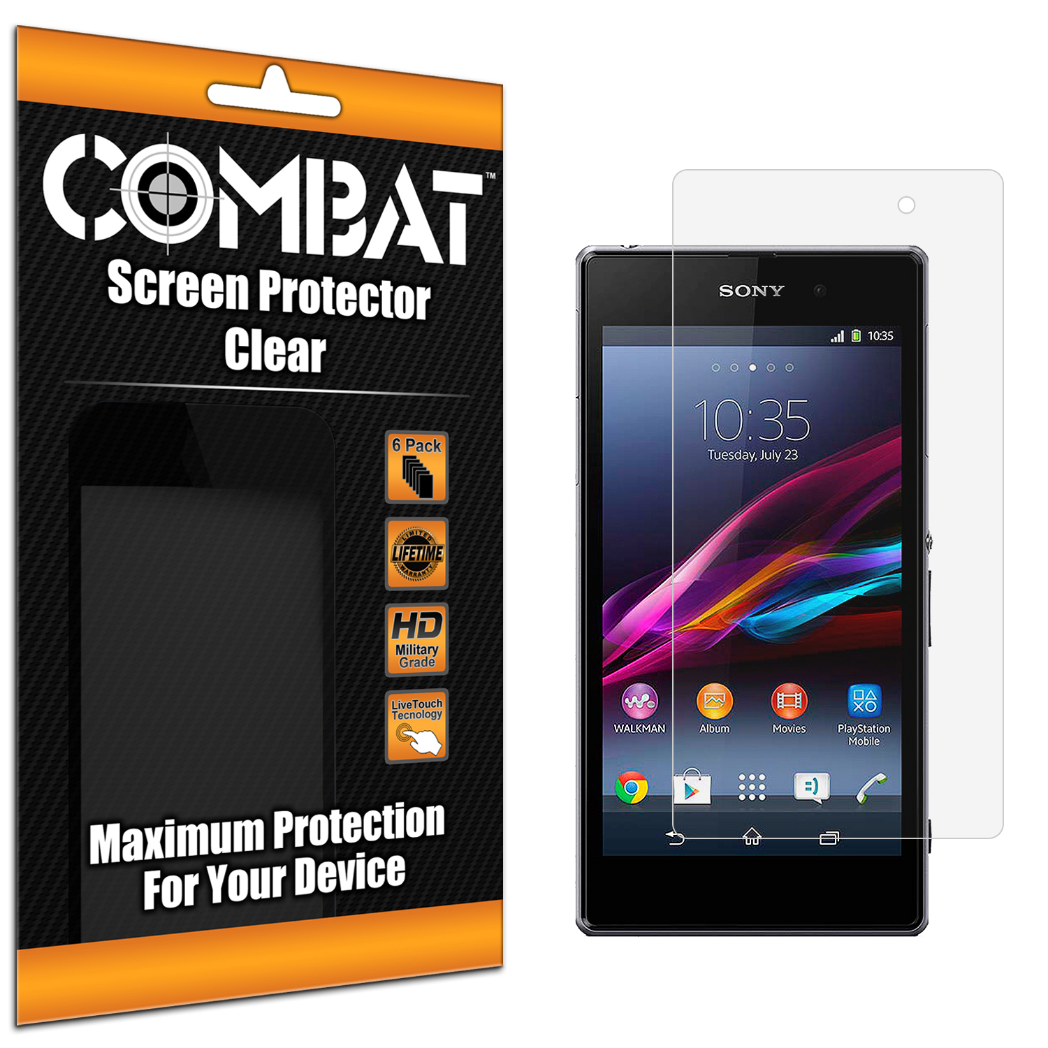 Sony Xperia Z1 Combat 6 Pack HD Clear Screen Protector