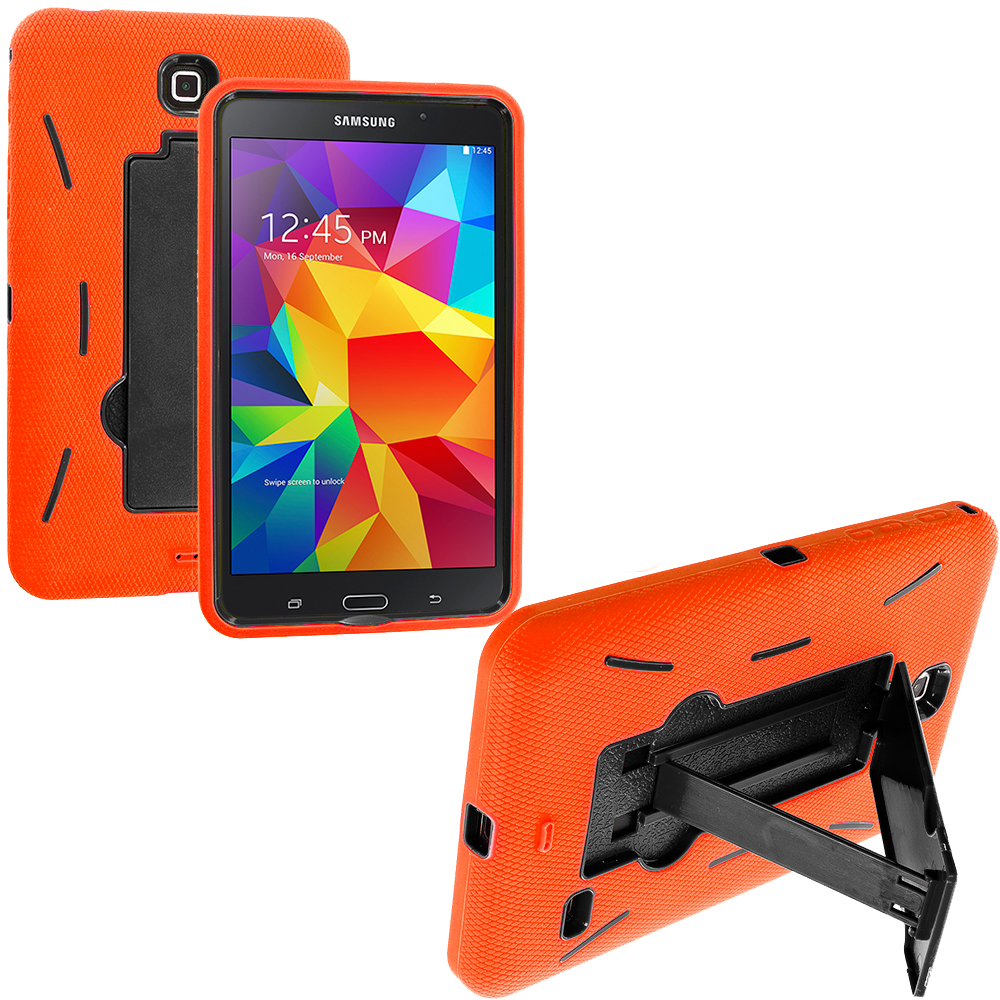 Samsung Galaxy Tab 4 7.0 Orange / Black Hybrid Heavy Duty Hard/Soft Case Cover with Stand