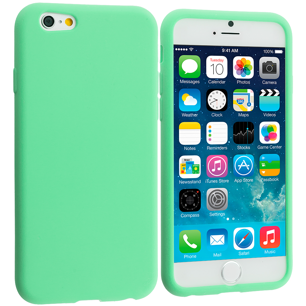 Apple iPhone 6 6S (4.7) 9 in 1 Combo Bundle Pack - Silicone Soft Skin Case Cover : Color Mint Green