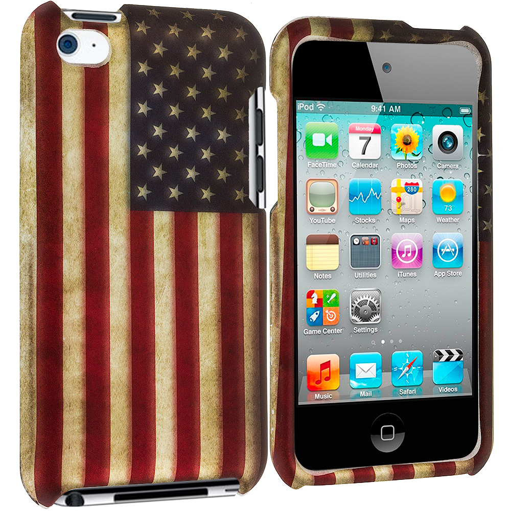 Apple iPod Touch 4th Generation USA Flag 2D Hard Rubberized Design Case Cover