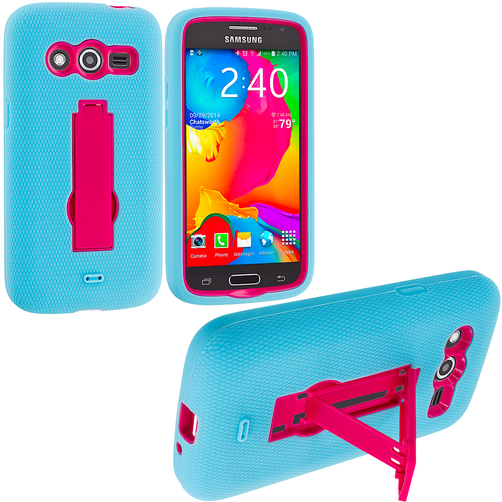 Samsung Galaxy Avant G386 Baby Blue / Hot Pink Hybrid Heavy Duty Impact Case Cover with Stand