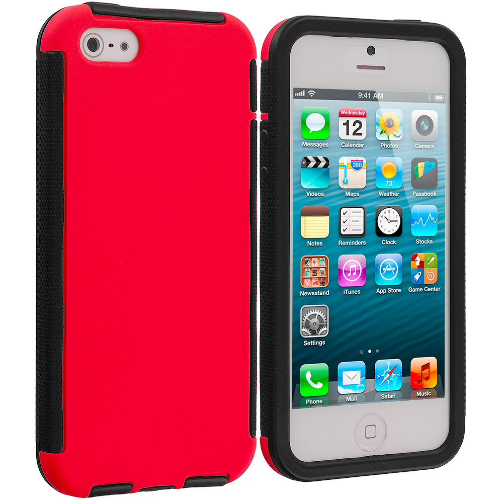 Apple iPhone 5/5S/SE Black / Red Hybrid Hard TPU Shockproof Case Cover With Built in Screen Protector