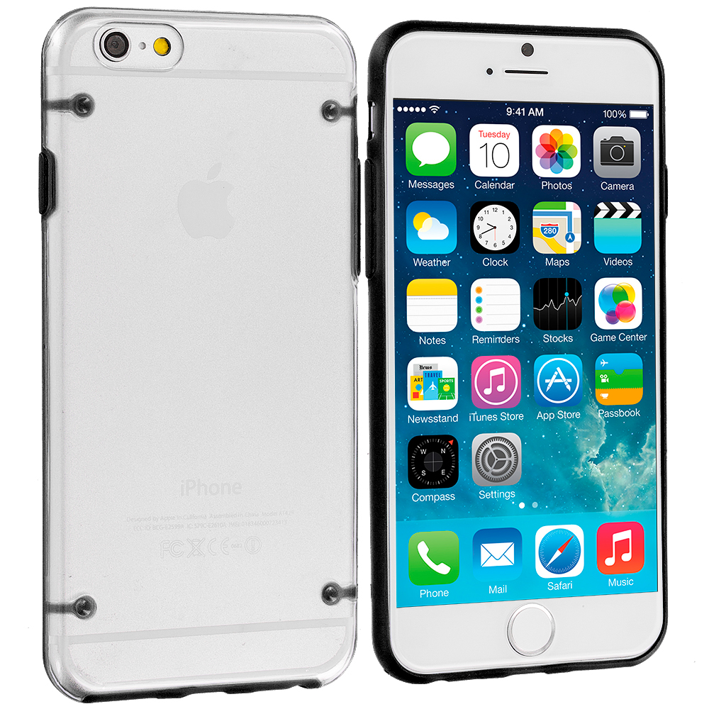 Apple iPhone 6 Plus 6S Plus (5.5) 8 in 1 Combo Bundle Pack - Crystal Robot Hard Case Cover : Color Black