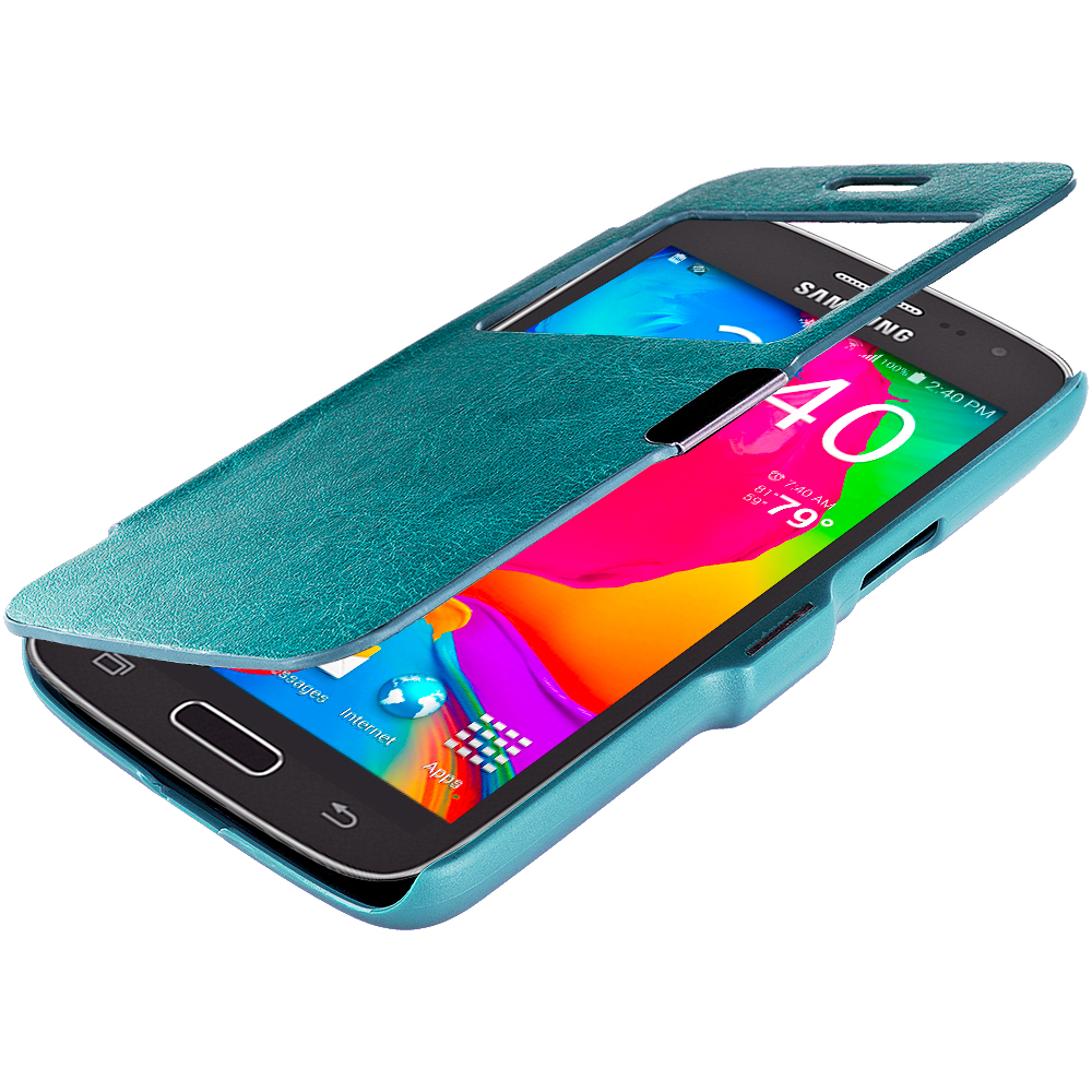 Samsung Galaxy Avant G386 Baby Blue (Open) Magnetic Flip Wallet Case Cover Pouch