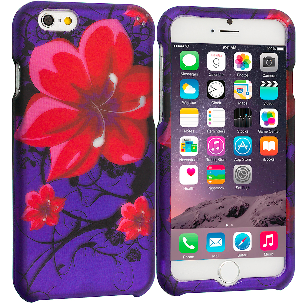 Apple iPhone 6 6S (4.7) Red Rose Purple 2D Hard Rubberized Design Case Cover