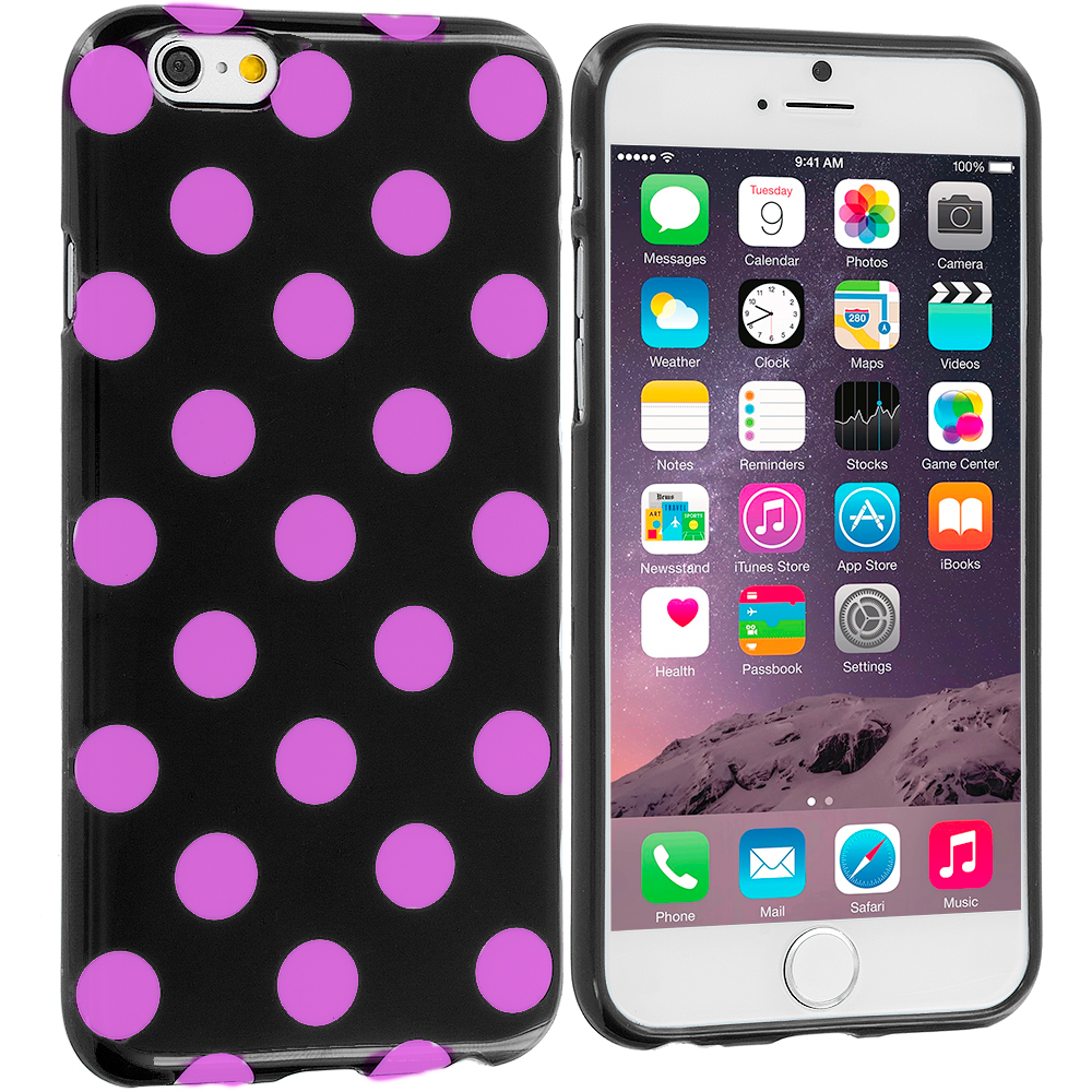 Apple iPhone 6 Plus 6S Plus (5.5) Black / Hot Pink TPU Polka Dot Skin Case Cover