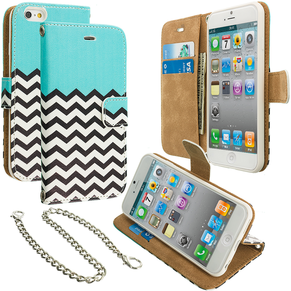 Apple iPhone 4 / 4S Mint Green Zebra Leather Wallet Pouch Case Cover with Slots