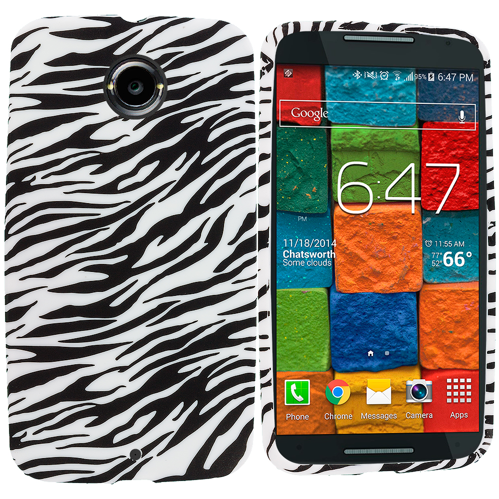 Motorola Moto X 2nd Gen Black White Zebra TPU Design Soft Rubber Case Cover