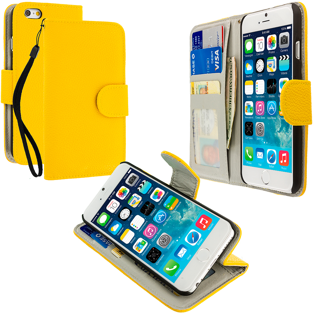 Apple iPhone 6 Plus 6S Plus (5.5) Yellow Leather Wallet Pouch Case Cover with Slots