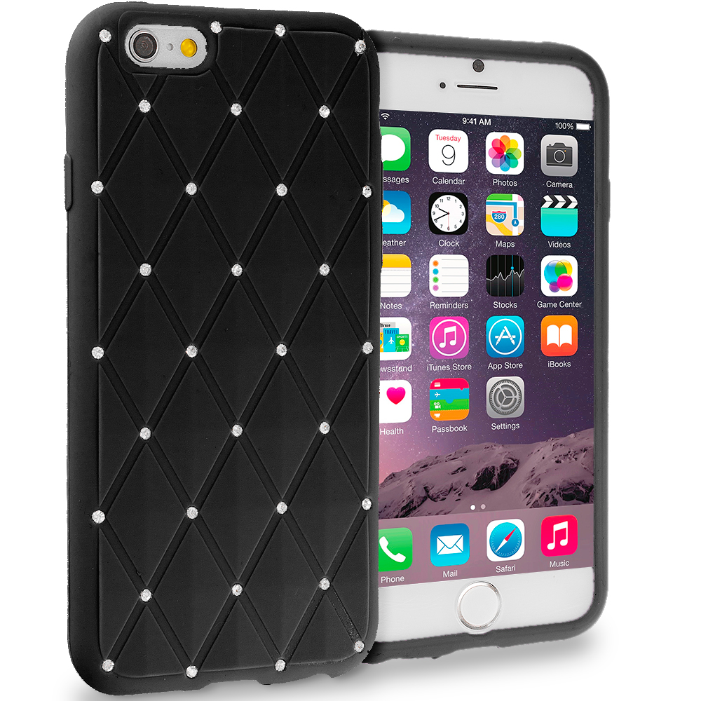 Apple iPhone 6 6S (4.7) Black Diamond Bling Silicone Soft Rubber Skin Case Cover