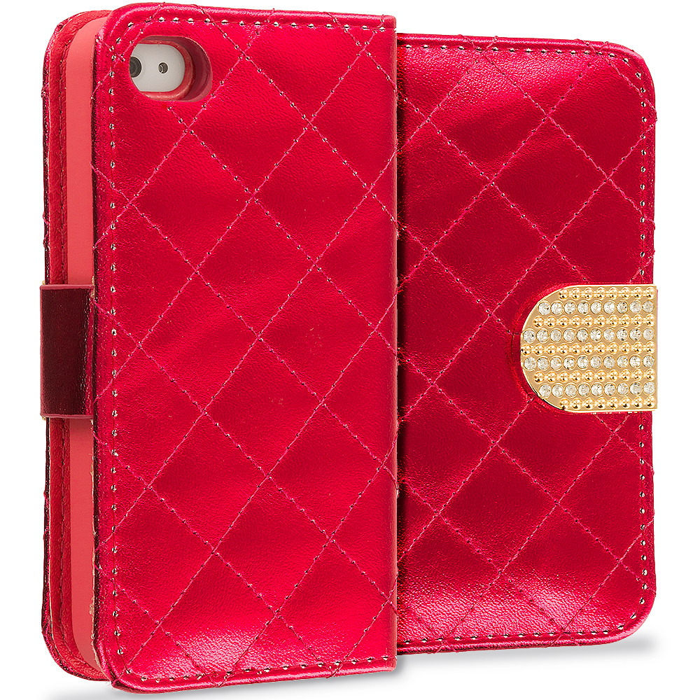 Apple iPhone 4 / 4S Red Luxury Wallet Diamond Design Case Cover With Slots