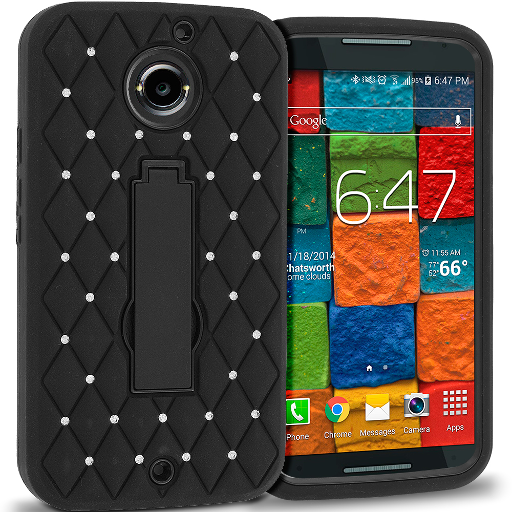 Motorola Moto X 2nd Gen Black / Black Hybrid Diamond Bling Hard Soft Case Cover with Kickstand