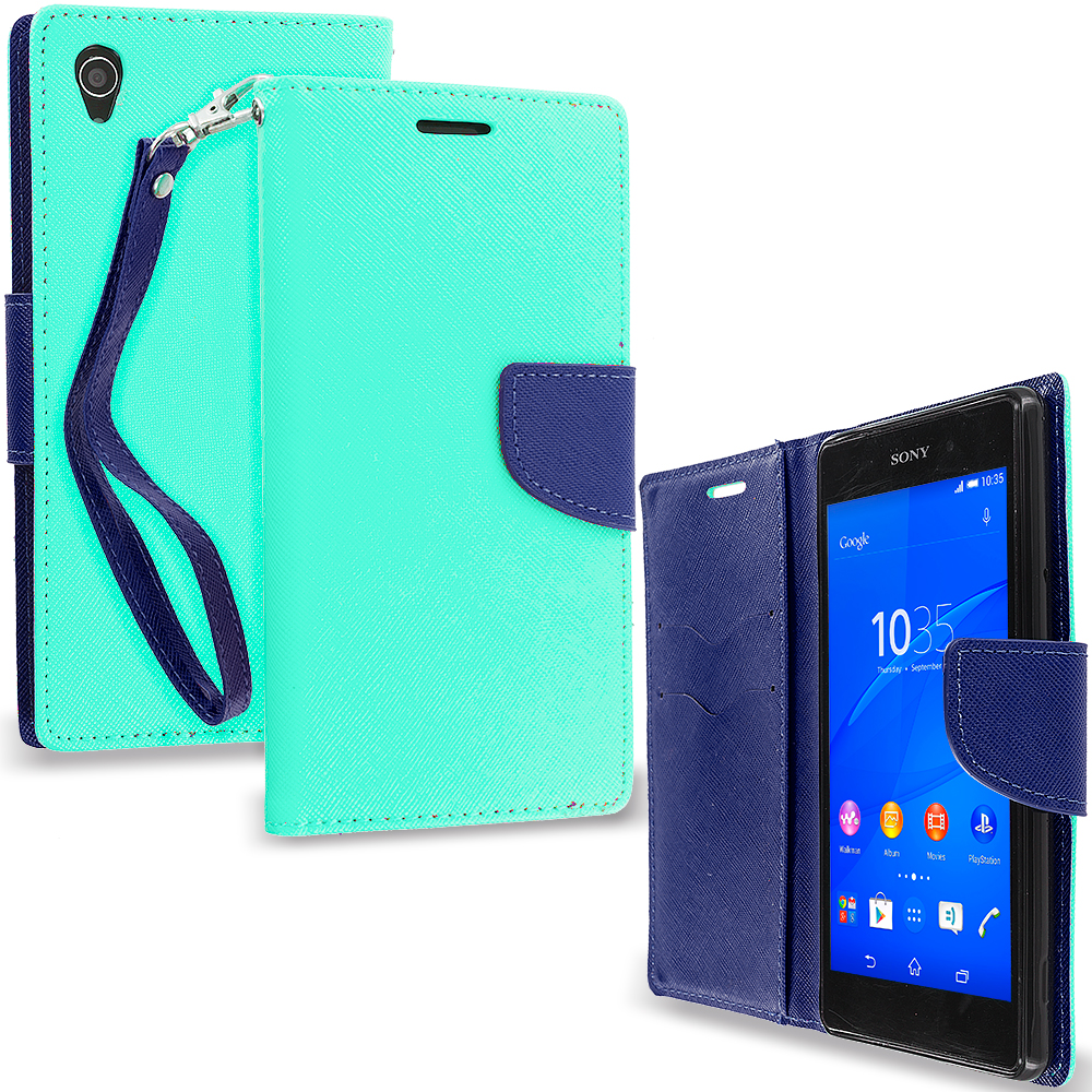 Sony Xperia Z3 Mint Green / Navy Blue Leather Flip Wallet Pouch TPU Case Cover with ID Card Slots