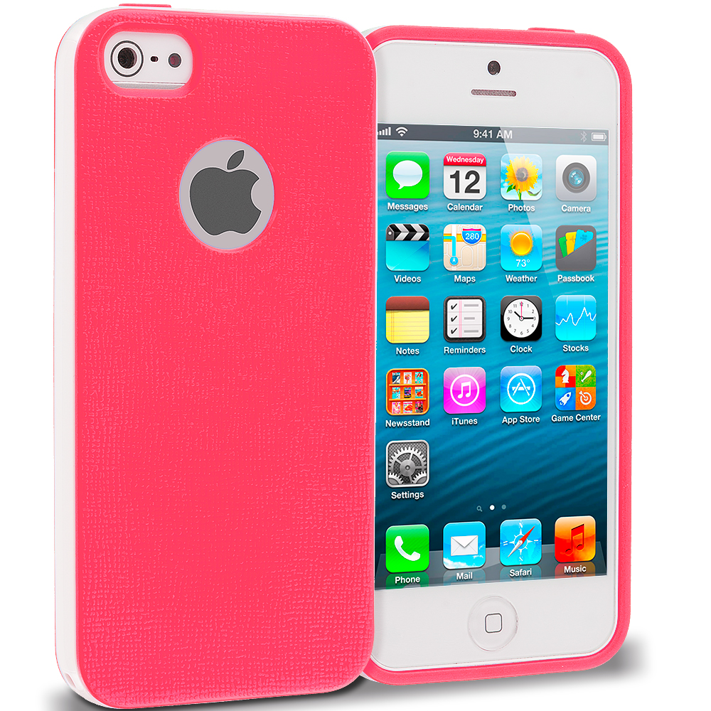 Apple iPhone 5/5S/SE Combo Pack : Green Hybrid TPU Bumper Case Cover : Color Hot Pink