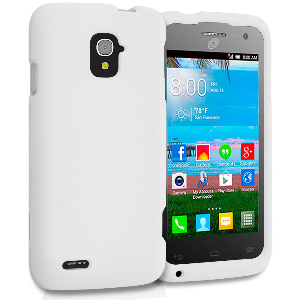 Alcatel One Touch Pop Star A845L White Hard Rubberized Case Cover