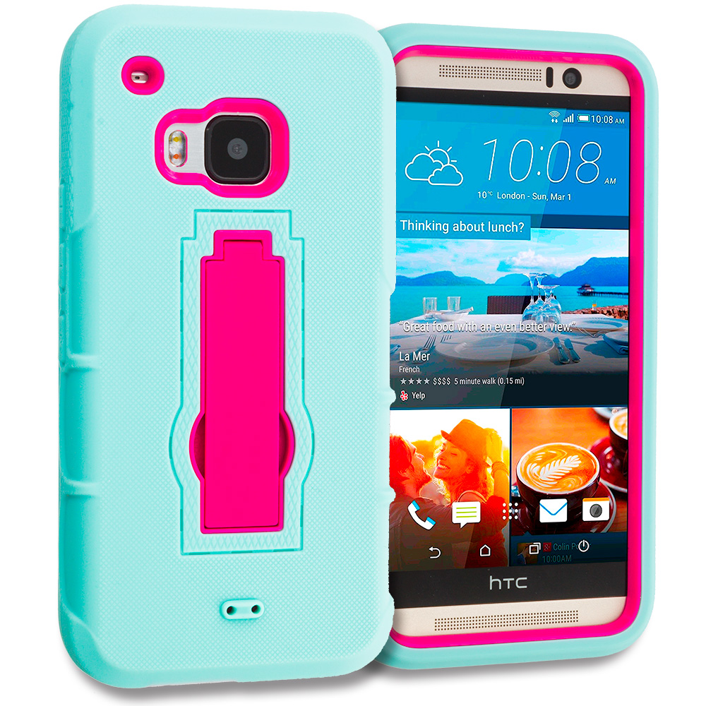 HTC One M9 Teal / Hot Pink Hybrid Heavy Duty Hard Soft Case Cover with Kickstand