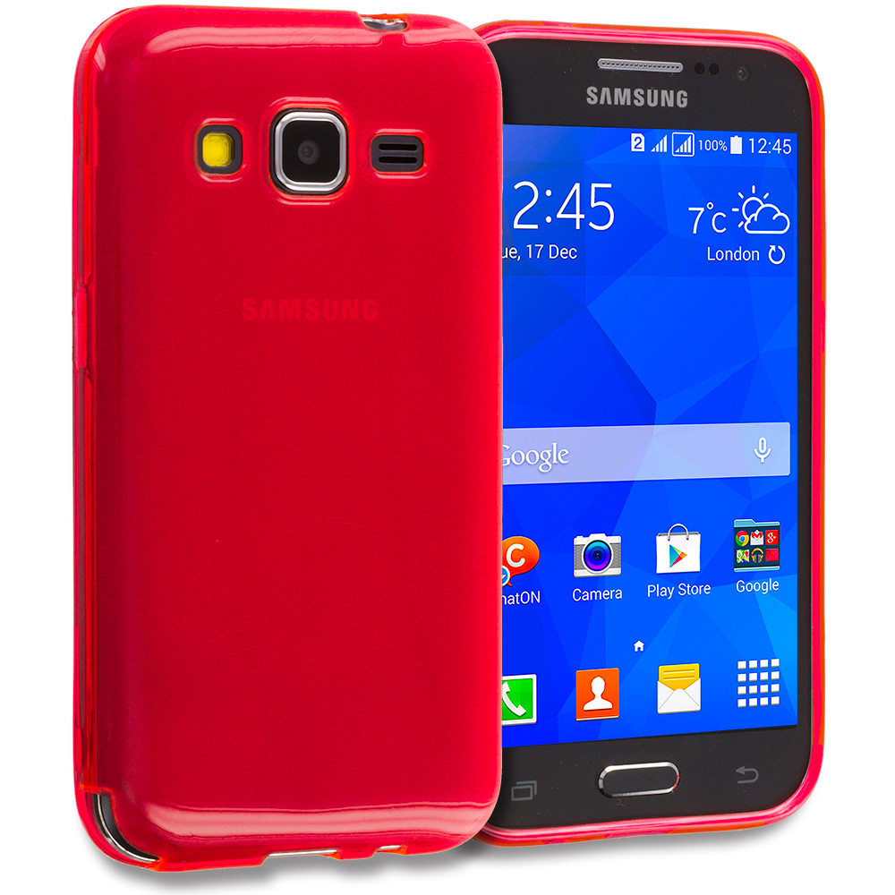 Samsung Galaxy Prevail LTE Core Prime G360P 2 in 1 Combo Bundle Pack - Clear TPU Rubber Skin Case Cover : Color Red