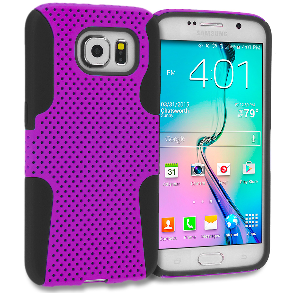 Samsung Galaxy S6 3 in 1 Combo Bundle Pack - Hybrid Mesh Hard/Soft Case Cover : Color Black / Purple