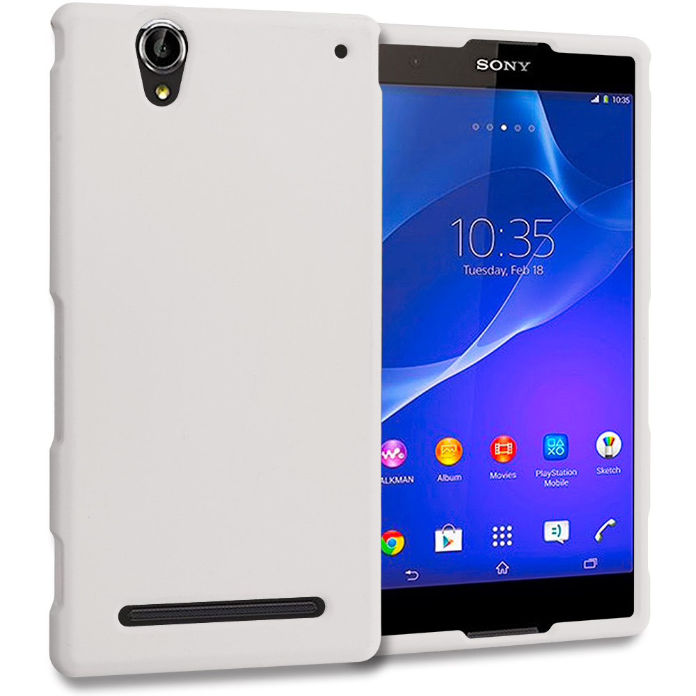 Sony Xperia T2 Ultra D5303 White Hard Rubberized Case Cover