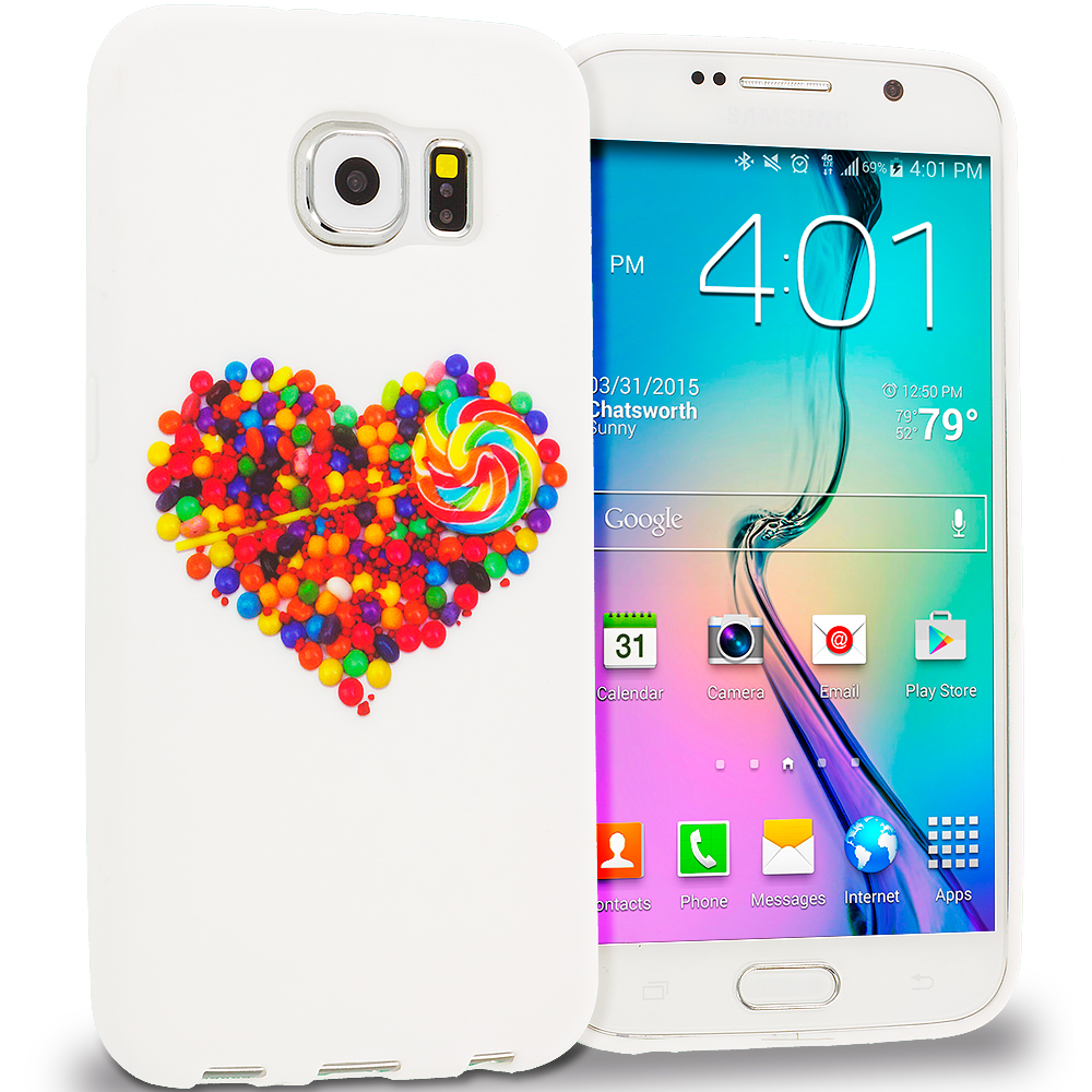 Samsung Galaxy S6 Combo Pack : Candy Hearts TPU Design Soft Rubber Case Cover : Color Candy Hearts