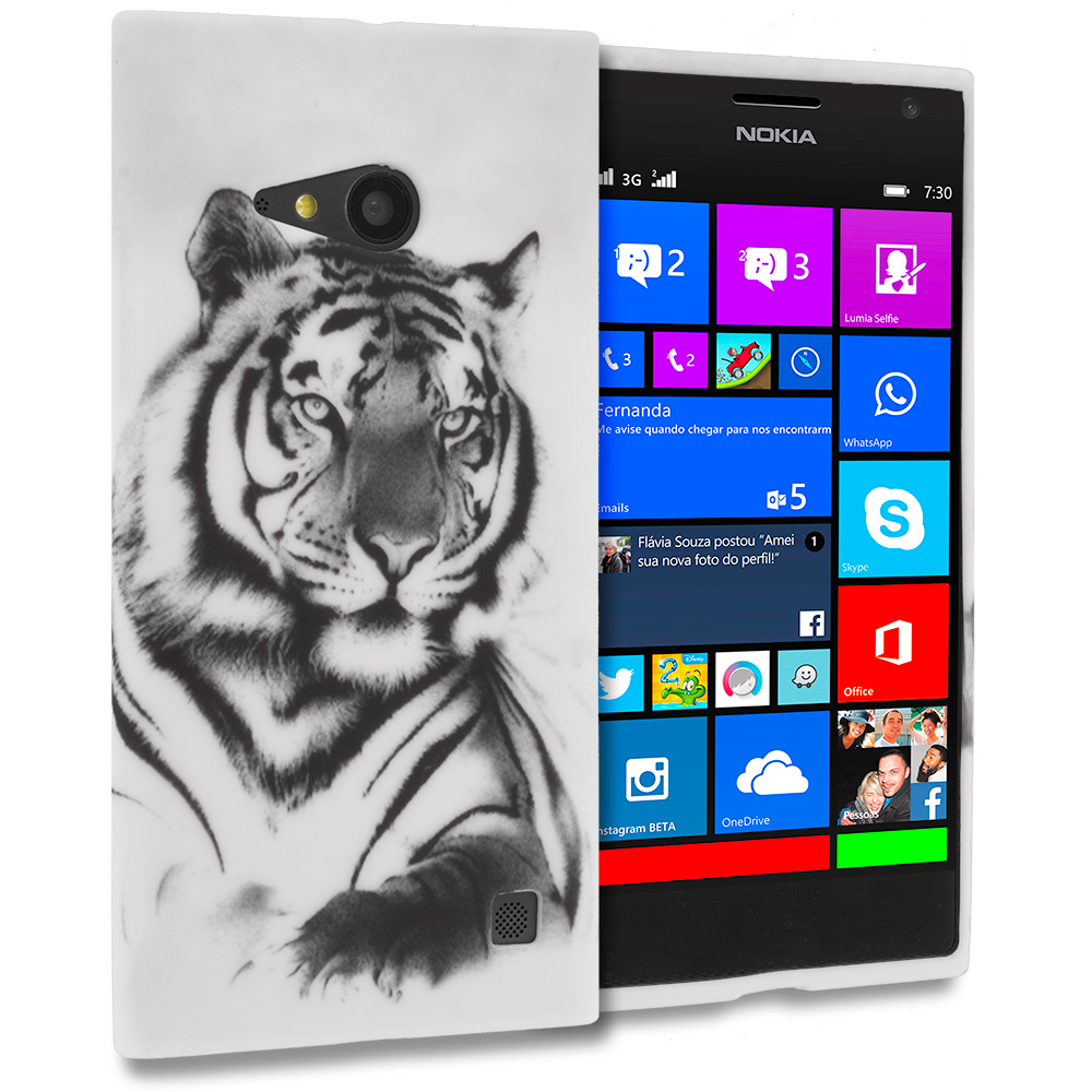 Nokia Lumia 730 735 White Tiger TPU Design Soft Rubber Case Cover