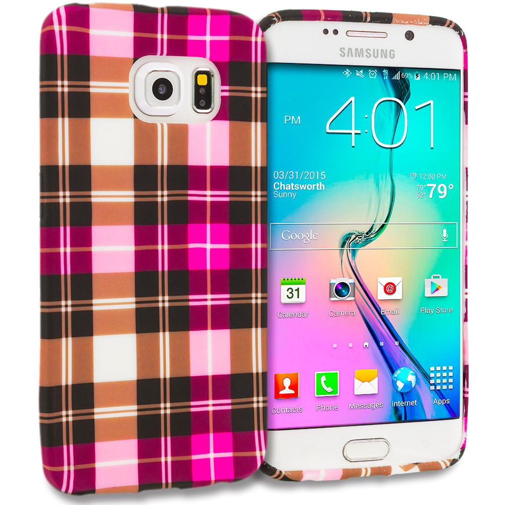 Samsung Galaxy S6 Edge Hot Pink Checkered TPU Design Soft Rubber Case Cover