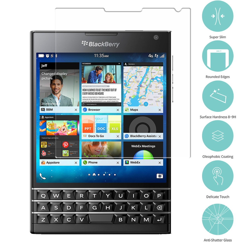 Blackberry Passport Clear Tempered Glass Film Screen Protector Clear