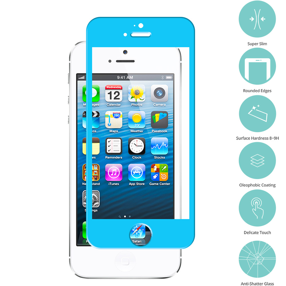 Apple iPhone 5 / 5S / 5C Baby Blue Tempered Glass Film Screen Protector Colored