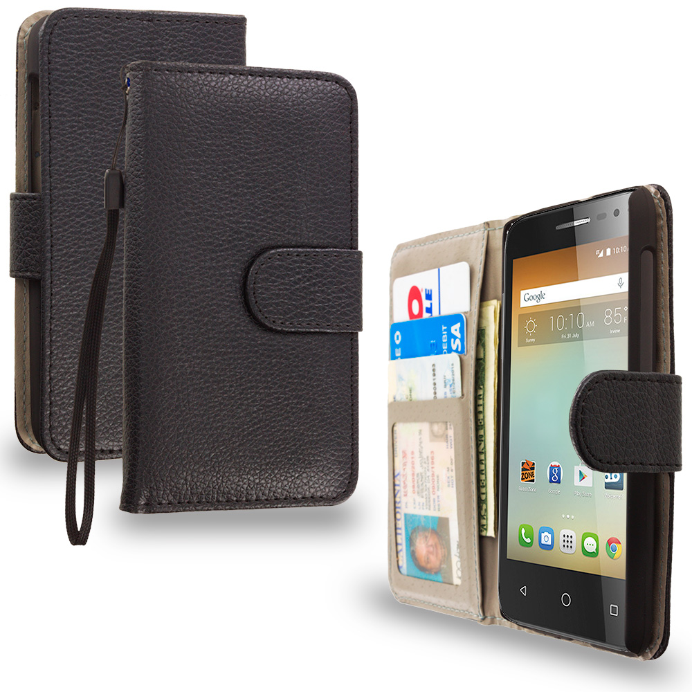 Alcatel One Touch Elevate Black Leather Wallet Pouch Case Cover with Slots
