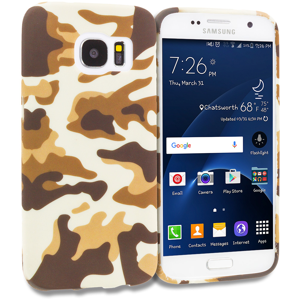 Samsung Galaxy S7 Combo Pack : Camo TPU Design Soft Rubber Case Cover : Color Camo