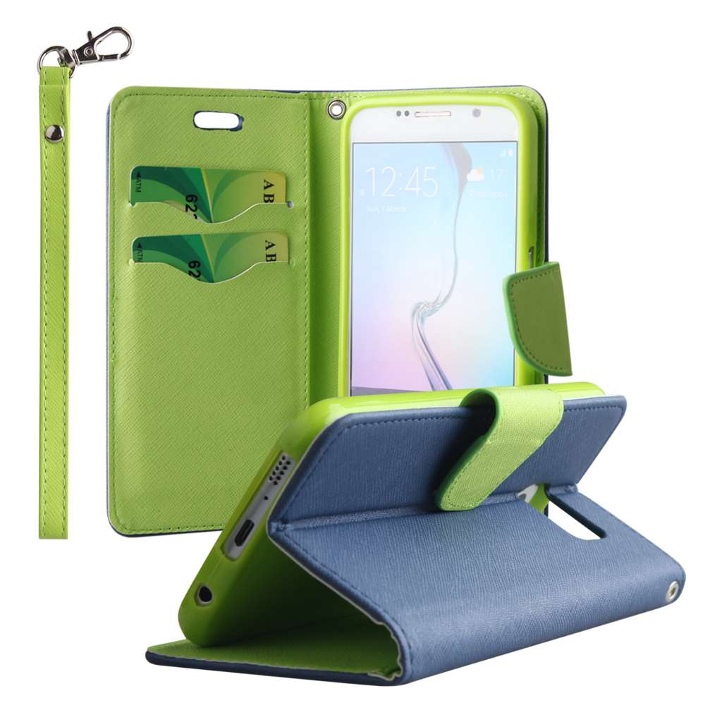 Samsung Galaxy S6 - Blue / Neon Green MPERO FLEX FLIP 2 Wallet Stand Case