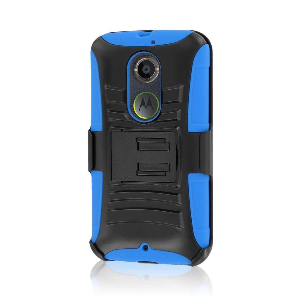 Motorola Moto X 2014 2nd Gen - Blue MPERO IMPACT XT - Kickstand Case Cover