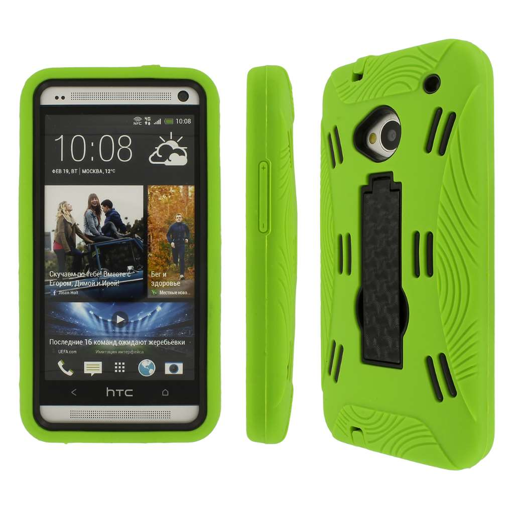 HTC One- NEON GREEN/BLACK MPERO IMPACT XL - Kickstand Case Cover
