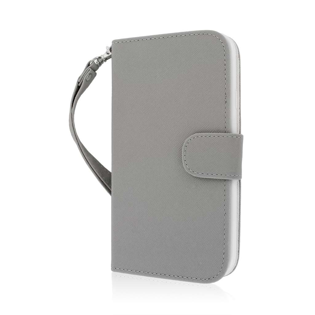 Samsung Galaxy Mega 5.8 - Gray MPERO FLEX FLIP Wallet Case Cover