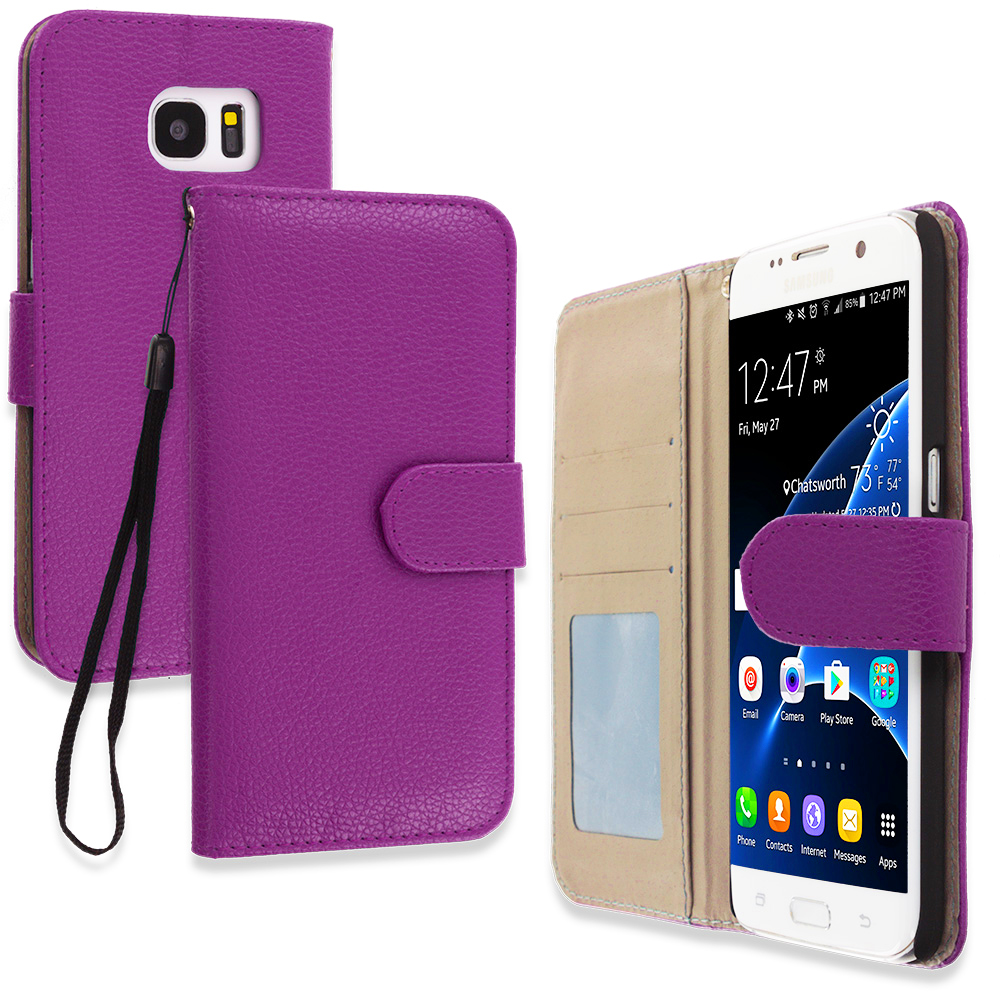 Samsung Galaxy S7 Edge Purple Leather Wallet Pouch Case Cover with Slots