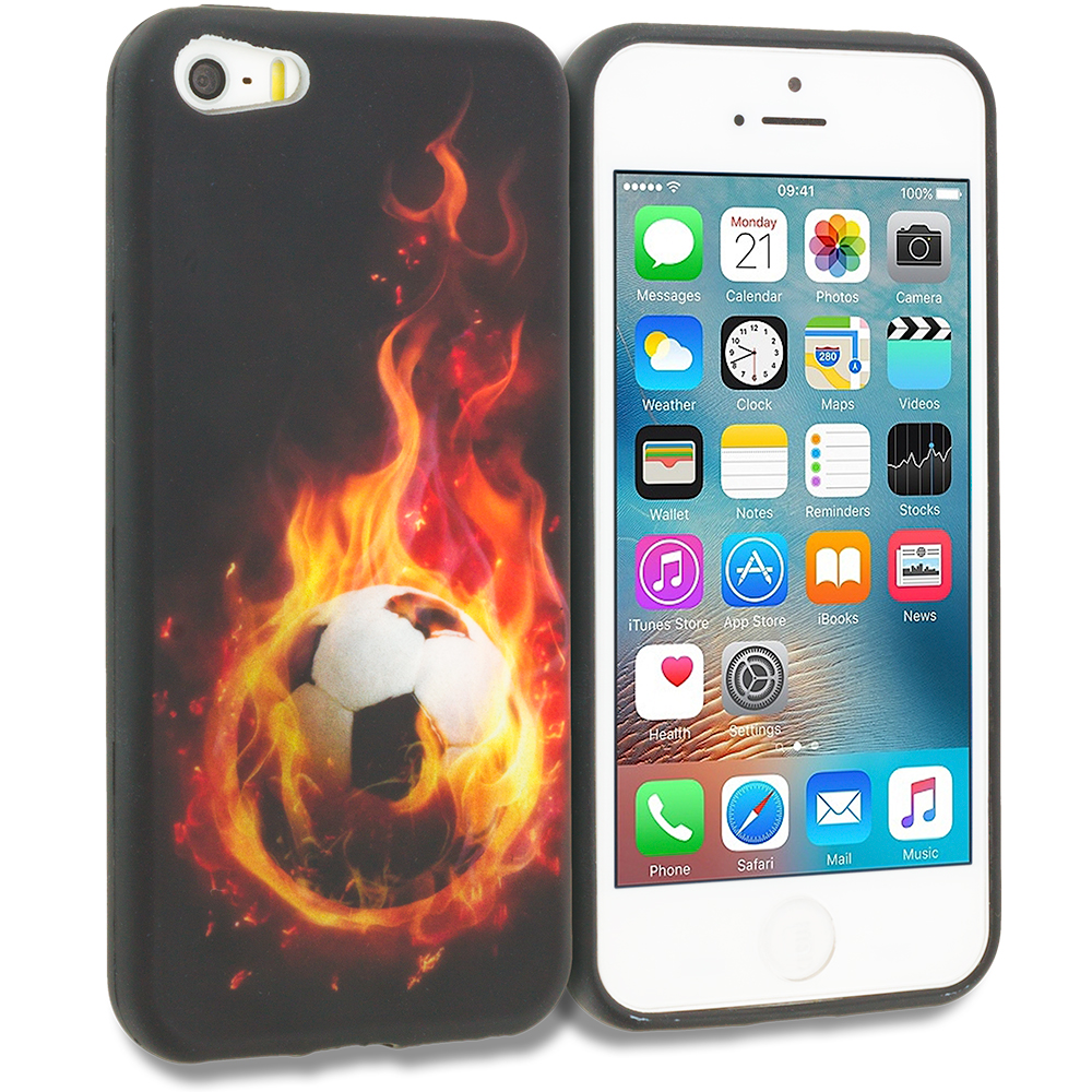 Apple iPhone 5/5S/SE Flaming Soccer Ball TPU Design Soft Rubber Case Cover