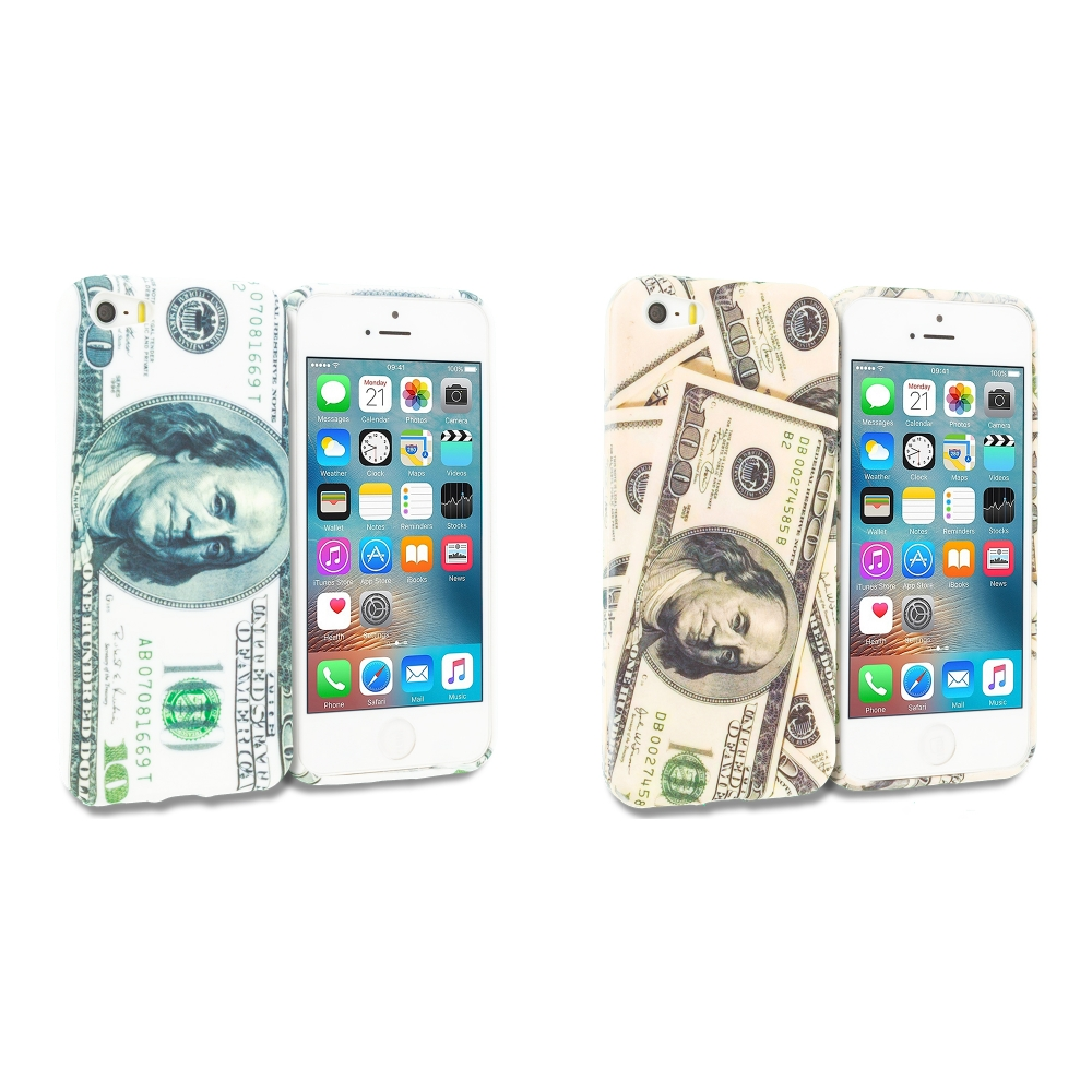 Apple iPhone 5/5S/SE Combo Pack : Hundred Dollars TPU Design Soft Rubber Case Cover