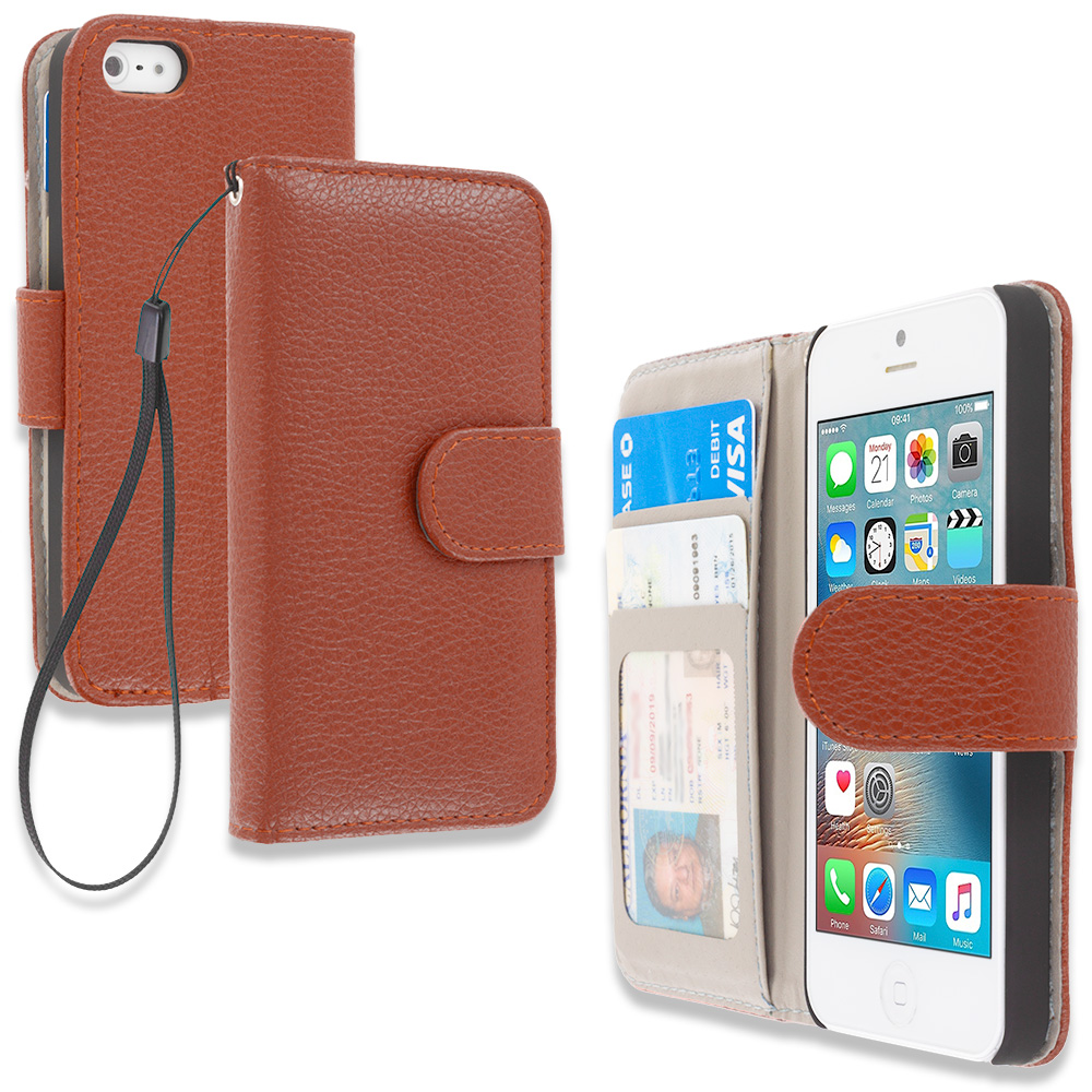 Apple iPhone 5/5S/SE Brown Leather Wallet Pouch Case Cover with Slots