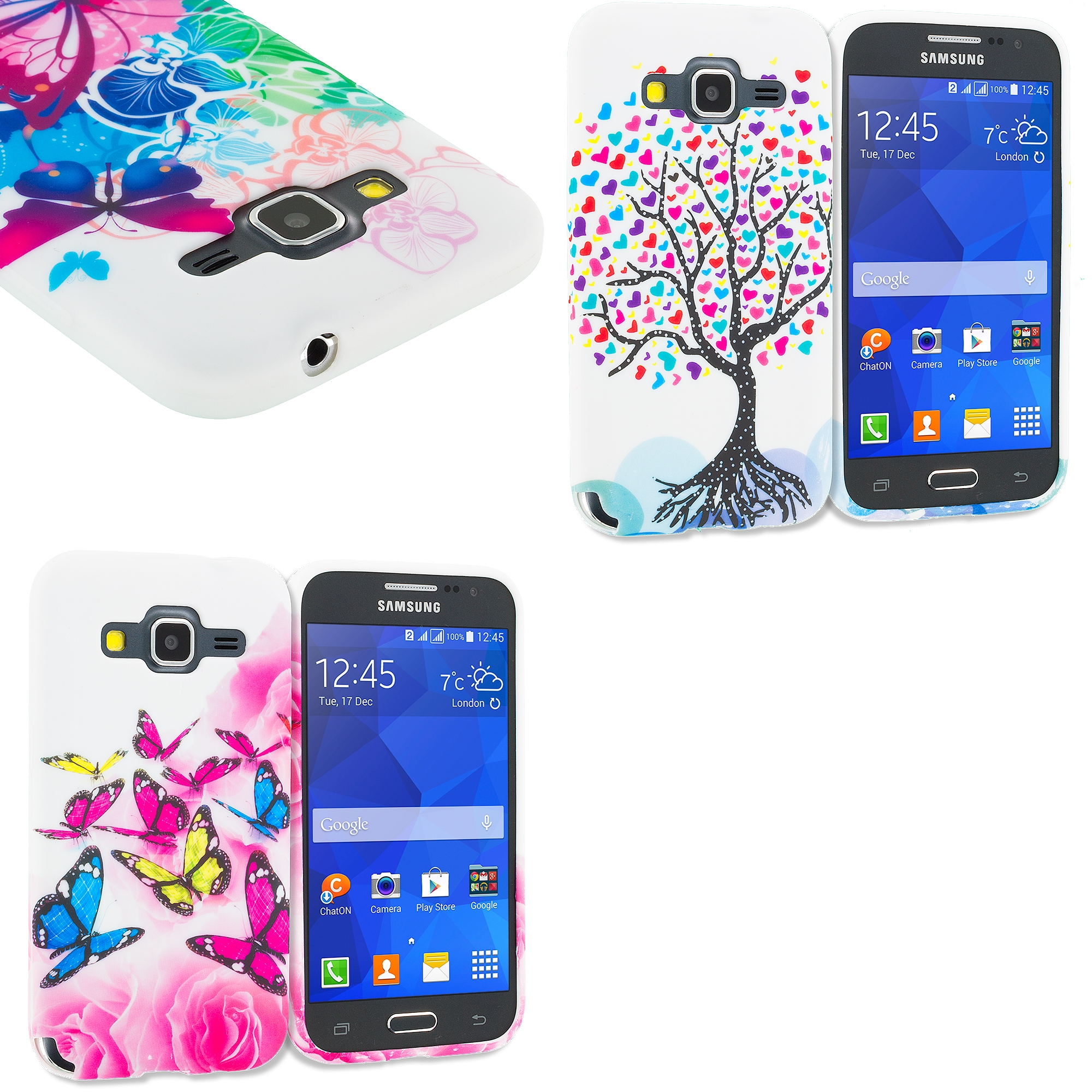 Samsung Galaxy Prevail LTE Core Prime G360P Combo Pack : Butterfly Colorful TPU Design Soft Rubber Case Cover