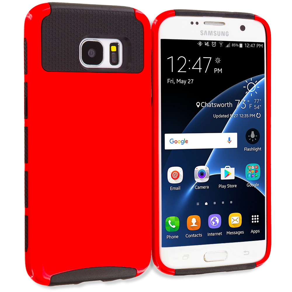 Samsung Galaxy S7 Edge Red / Black Hybrid Hard TPU Honeycomb Rugged Case Cover