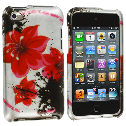 Apple iPod Touch 4th Generation Red Black Flower Design Crystal Hard Case Cover