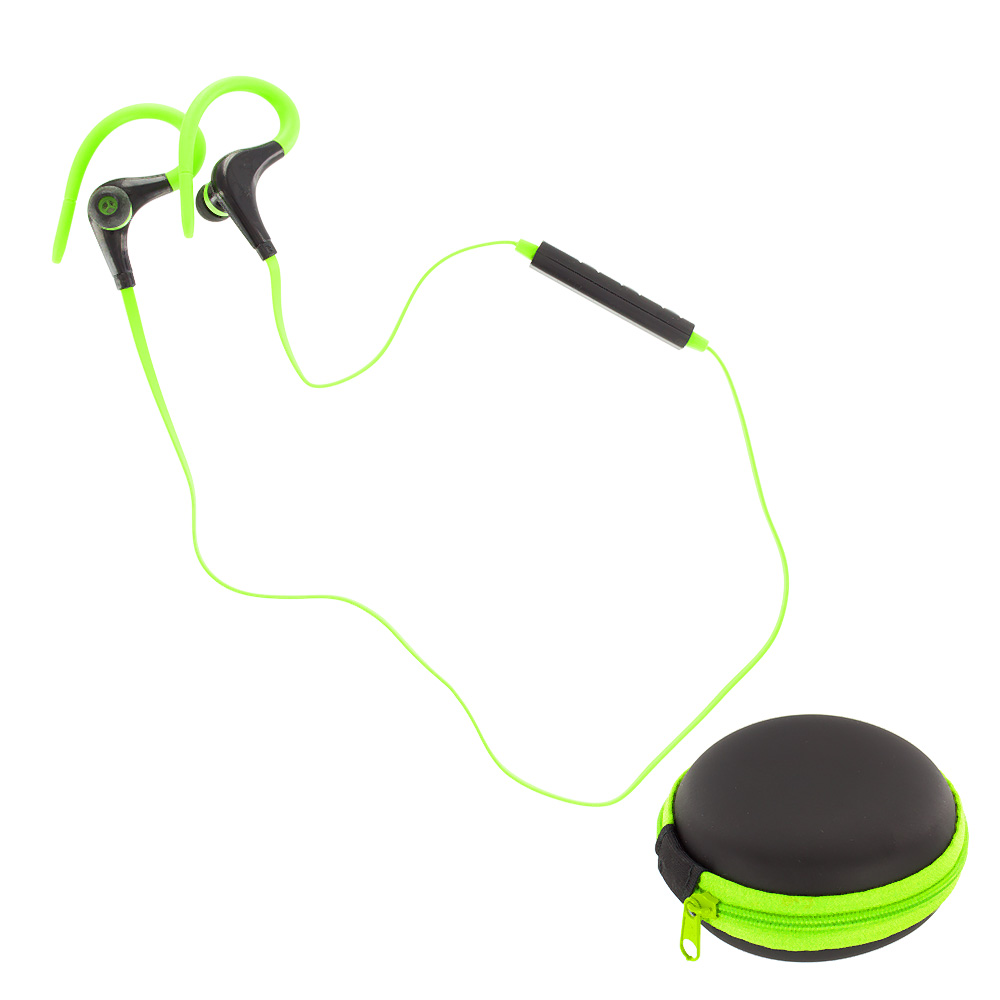 wireless neckband bluetooth headphones earbuds sport gym running with case. Black Bedroom Furniture Sets. Home Design Ideas