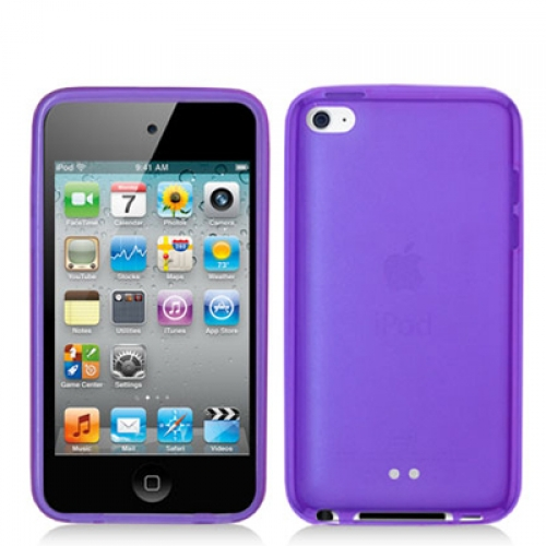 Apple iPod Touch 4th Generation Purple Gummy TPU Rubber Skin Case Cover
