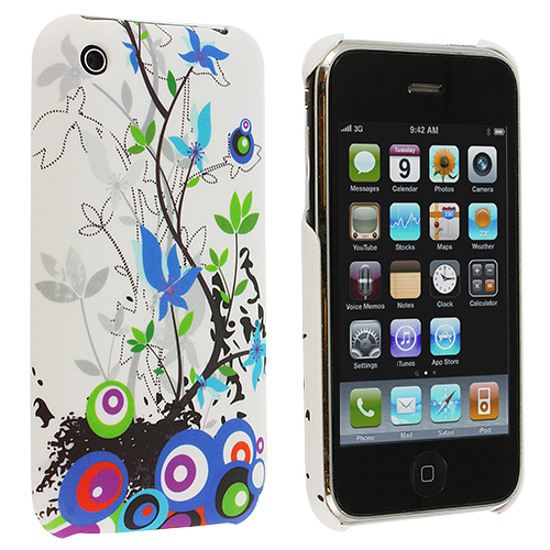 Apple iPhone 3G / 3GS White Blue Flower Hard Rubberized Back Cover Case