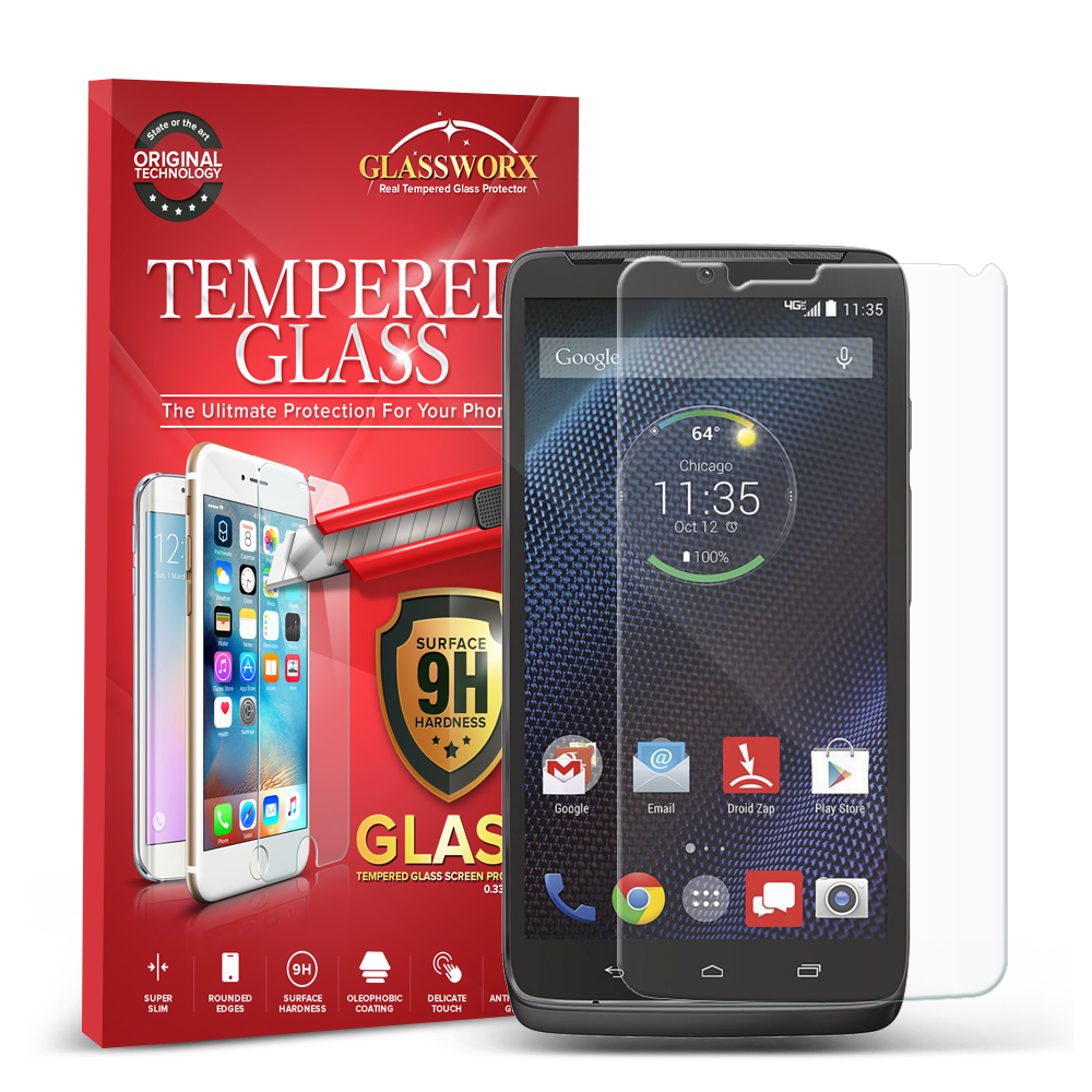 Motorola Droid Turbo GlassWorX HD Clear Tempered Glass Screen Protector